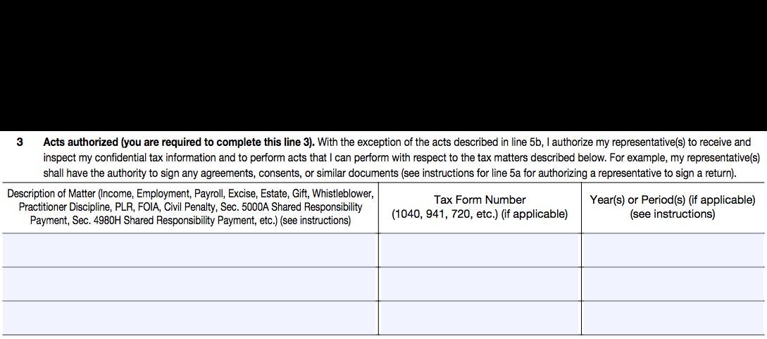 IRS Form 2848, Line 3