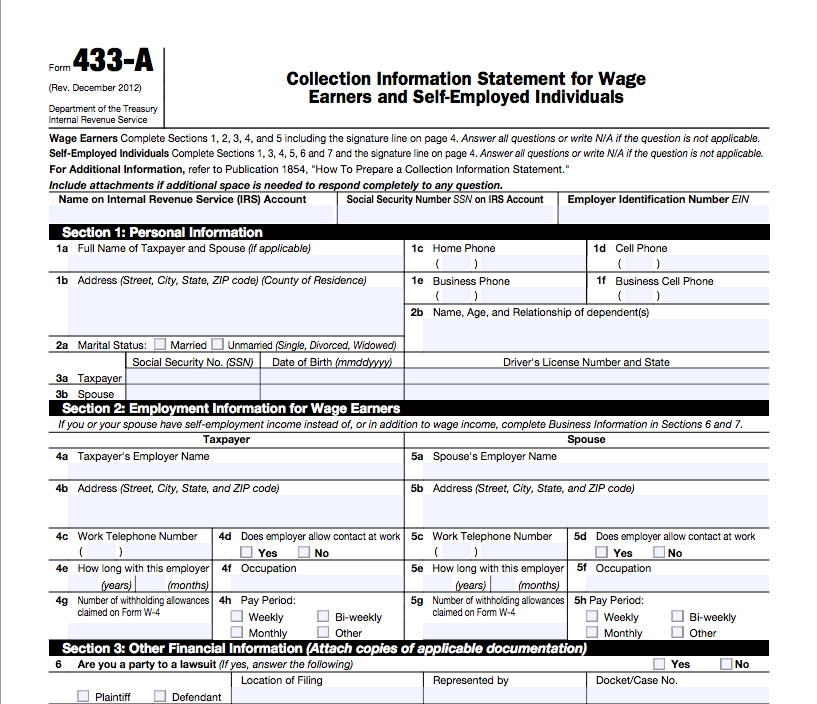 how to navigate form 433
