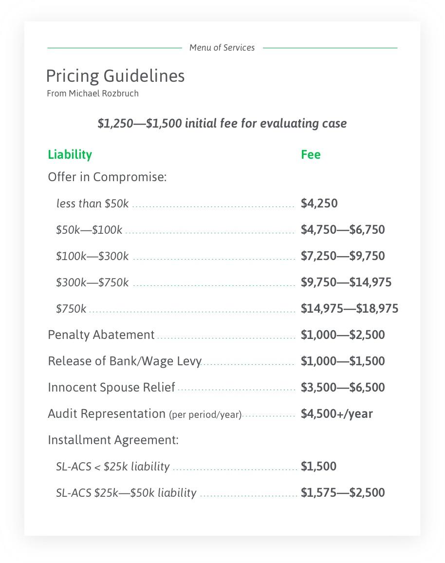 Rozbruch pricing
